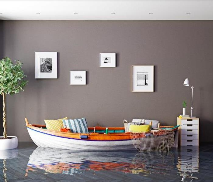 boat as a sofa in flooding interior